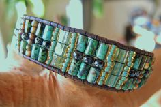 Striking UNISEX African Green & Black Turquoise Leather Bracelet with Old World Czech Beads and Miyuki Tila and Seed Beads, Bronze Button
