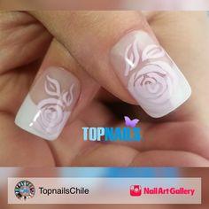 Acrylic Nails With Floral Design Hand by TopnailsChile via Nail Art Gallery #nailartgallery #nailart #nails #acrylic #bridal #french #painted #uñas #naildesign #swarovski #happy #gelpolish