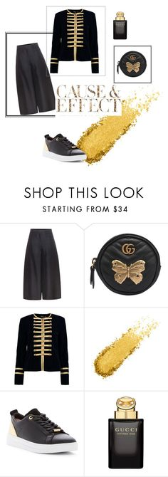 """Black Gold"" by maria-mark on Polyvore featuring Valentino, Gucci, Boohoo, Ted Baker and Envi:"