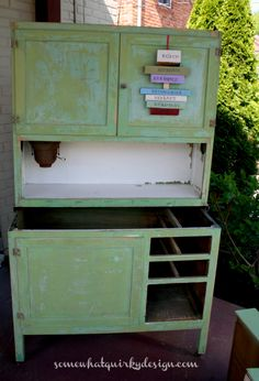 Somewhat Quirky: A Hoosier Cabinet in Luckets Green Milk Paint