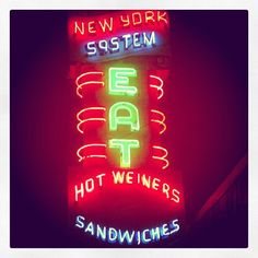 Olneyville New York System Restaurant in Providence, RI is a late-night lunch counter with GREAT hot dogs served with their signature meat sauce (only found in RI).  Best served with RI only Coffee Milk, a meal here is a real Providence experience and a must see when in the Ocean State!