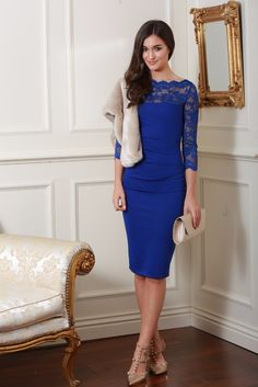 Bethany Royal Blue Fitted Midi Lace Dress