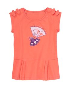 She's feminine and elegant in our lovely fan tee. Cherry blossoms on embroidered fans swirl around a sparkling gem and 3D tassel. Accent gems add extra sparkle, while knotted bows at the sleeves add adorable detail. Pleated hem and super comfy cotton makes our pretty tee extra special. WARNING: CHOKING HAZARD - Small parts. Not for children under 3 yrs.
