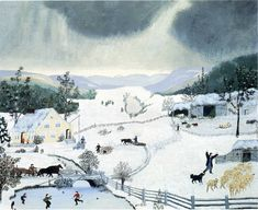 "theartistsmanifesto: "" Winter is coming… Winter by Grandma Moses. Grandma Moses, Snow Scenes, Winter Art, Winter Snow, Art Database, Naive Art, San Pellegrino, American Artists, Illustrators"