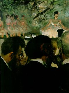 Musicians in the Orchestra, 1872 by Edgar Degas. Impressionism. genre painting. Städel, Frankfurt am Main, Germany