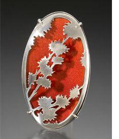 red enamel brooch - ELEANOR KENNELL -USA