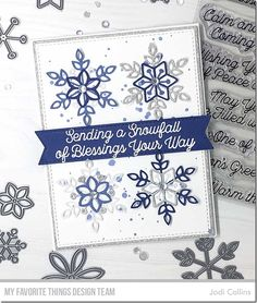 Card Kit: Snowflake Splendor Stamps: Snowfall of Blessings Die-namics: Stitched Fishtail Sentiment Strips, A2 Stitched Rectangle STAX Set 2, A2 Rectangle STAX Set 2  Jodi Collins #mftstamps