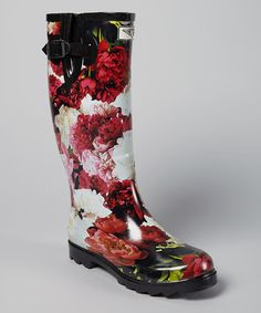 Another great find on #zulily! Pink & Red Floral Rain Boot by Forever Young Inc. #zulilyfinds