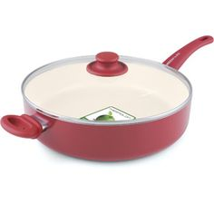 GreenLife Healthy Ceramic Non-Stick 5-Quart Sautepan with Helper Handle, Red