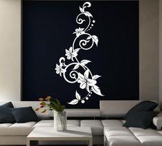 Ideas Wall Drawing Design Diy Canvas For 2019 Wall Art Designs, Wall Design, Diy Design, Vinyl Wall Stickers, Wall Decals, Wall Murials, Diy Wall, Peacock Wall Art, Wall Drawing