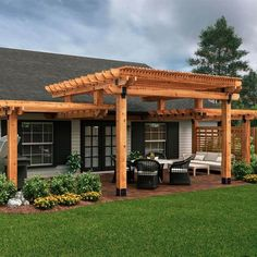 backyard patio designs OZCO Project Two Tier Pergola makes adding beauty and style to your home easy. This two-level pergola features a bold and beautiful design tha Pergola Swing, Deck With Pergola, Wooden Pergola, Outdoor Pergola, Backyard Pergola, Pergola Shade, Backyard Landscaping, Pergola Roof, Cheap Pergola