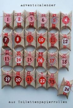 Toilet Paper Rolls Advent Calendar and 25 Homemade Advent Calendars on Frugal Coupon Living plus ideas for your Christmas Cookie Exchange and Homemade DIY Christmas Gift Ideas./Christmas decorations & ideas Source by drejca Homemade Christmas, Diy Christmas Gifts, Christmas Holidays, Christmas Decorations, Christmas Advent Ideas, Christmas Gifts For Brother, Homemade Decorations, Christmas Tables, Christmas Tree