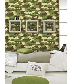 Amazing Camouflage Bedroom Interior Decoration For Boys Camouflage Bedroom, Camouflage Wallpaper, Army Camouflage, Army Bedroom, Army Decor, Green Furniture, Lokal, Bedroom Themes, Bedroom Ideas