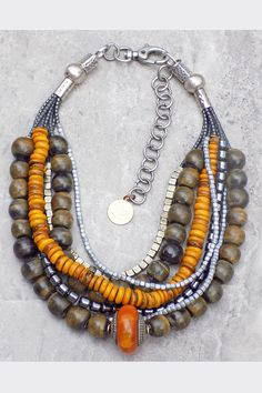 Carabao: Dark Gray Horn, Amber, Hematite, Pyrite and Silver Choker Necklace Western Jewelry, Tribal Jewelry, Bohemian Jewelry, Silver Choker Necklace, Beaded Necklace, Necklaces, Steam Punk Jewelry, Silver Work, Round Beads