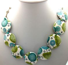Lovely colors on this polymer clay necklace by Mabcrea Art, Cecilia Botton