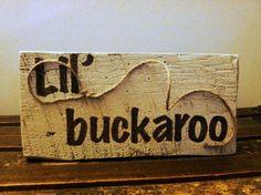 Handpainted Lil' Buckaroo with Lasso - Cowboy Party, Cowboy Theme, Cowboy Nursery, Country Western. $18.00, via Etsy.