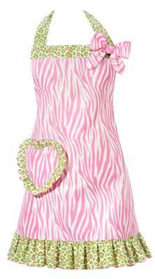 Rock 'n Roll Zebra pink & green Apron i need this
