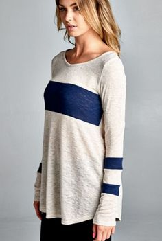 Going The Extra Stripe Top - Navy