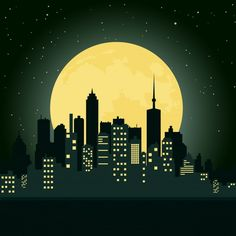 City at night Vector Illustration Nocturne, Night Illustration, City Vector, Vector Art, Moon Vector, Fourth Of July Crafts For Kids, Neon Licht, Skyline Painting, Arte Sketchbook