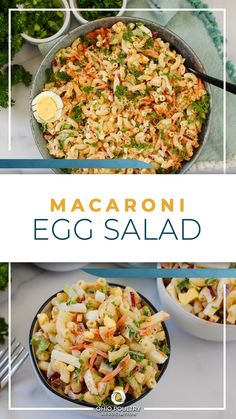 Combine hard-boiled eggs with pasta, fresh veggies and herbs, and a creamy made-from scratch dressing to make Macaroni Egg Salad - an instant family favorite!