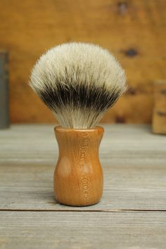 Cherry Truncheon style shaving brush with Silvertip Badger by Bare Knuckle Barbery