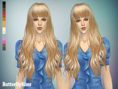 Long wavy with bangs hair 049 (Pay) at Butterfly Sims via Sims 4 Updates Curly Hair With Bangs, Hairstyles With Bangs, Braided Hairstyles, Curly Hair Styles, My Sims, Sims Cc, Sims 4 Cc Makeup, Sims 4 Update, Inspiration For Kids