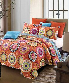 Another great find on Orange Suri Quilt Set by Duke Imports, Inc. Queen Size Quilt Sets, Queen Quilt, Bed Sets, Orange Bedding, Bed Linen Design, Luxury Bedding Collections, Bed Duvet Covers, Cushion Covers, Linen Bedding