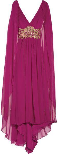 Marchesa CapeBack Gown in Purple