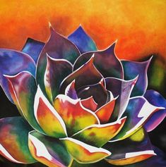 Easy Canvas Painting, Painting & Drawing, Watercolor Flowers, Watercolor Paintings, Painting Flowers, Flower Paintings, Succulents Painting, Succulents Art, Lily Painting