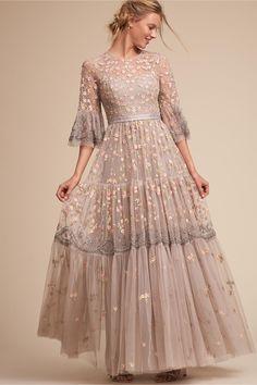 BHLDN's Needle & Thread Climbing Blossom Gown in Light Grey