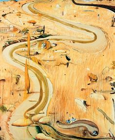 This painting suggests narrative - moving through the landscape, encountering different objects along the way (I like this description written by previous pinned) Summer at Carcoar - Brett Whiteley Australian Painting, Australian Artists, Landscape Art, Landscape Paintings, Landscapes, Kitsch, Figurative Kunst, Bright, Amazing Art