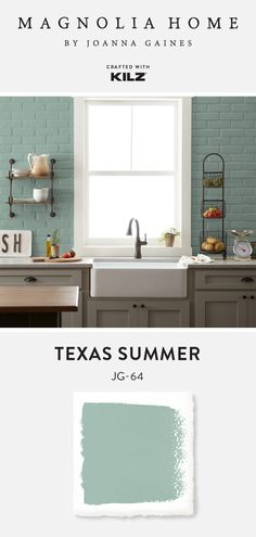 Bringing a cool blue hue to these kitchen walls, Texas Summer, from the Magnolia. Bringing a cool blue hue to these kitchen walls, Texas Summer, from the Magnolia Home by Joanna Gaines® Paint collection. Joanna Gaines Rugs, Joanna Gaines Kitchen, Magnolia Joanna Gaines, Accent Wall In Kitchen, Kitchen Wall Colors, Kitchen Walls, Farmhouse Paint Colors, Paint Colors For Home, Playroom Paint Colors