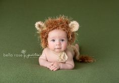 2 month old baby boy lion bonnet and diaper cover green, tan | Bella Rose Portraits newborn and baby photographer Springfield, VA