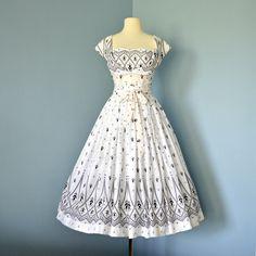 Vintage Black and White Dress...Fabulous 1950s Semi-Sheer Black and White Two Piece M. Adler Dress Garden Party Wedding. $140.00, via Etsy.