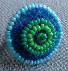 Bague textile de style nordique.  Bleu et vert. par VeronikB