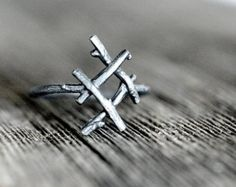 ALGIZ Rune Ring sterling silver twigs Sanctuary Divine by redsofa