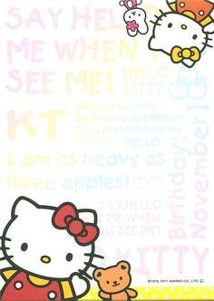 kawaii Memo Pad Hello Kitty with apple & text 4