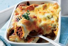 Beef & Aubergine baked Canelloni with Yogurt sauce ~ Favourite ~ Cookbook Recipes, Pasta Recipes, Dinner Recipes, Cooking Recipes, Greek Recipes, Italian Recipes, Greek Dinners, Cannelloni Recipes, Best Comfort Food