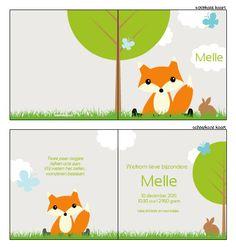 Geboortekaartje - Schattig vosje in de natuur. Ontwerp dit kaartje zelf, met onze ontwerptool. www.geboortekaartjesdrukkerij.nl #geboortekaartjes, #geboorte, #kaartjes, #zelfontwerpen, #ontwerpen, #uniek, #jongen, #meisje, #zwanger, #baby, #vosje, #dieren, #beestenboel