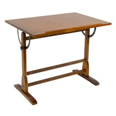 The classic design of the Vintage Drafting Table is reminiscent of turn-of-the-century furnishings. It features ample workspace on elegantly distressed wood with a built-in pencil groove. The antique finished surface top adjusts in angle from flat to 90 degrees for versatility and sits on a solid wood frame for durability.