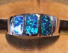 blue fire opal ring Gemstone silver jewelry size 8 modern design B04