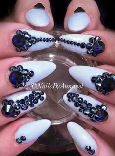 BLUE rhinestone nails design by @nails_by_annabel_m on IG