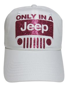 "NEW! Fuchsia Glitter ""Only In A Jeep"" White Trucker Cap! Order at www.shopspiritcaps.com!"