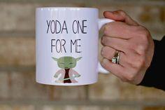 Yoda Mug, Yoda One For Me Mug, Gift for husband, Gift for boyfriend, Gift for her, Star Wars Mug, Funny Coffee Mug by ShopFourArrows on Etsy https://www.etsy.com/listing/263671879/yoda-mug-yoda-one-for-me-mug-gift-for
