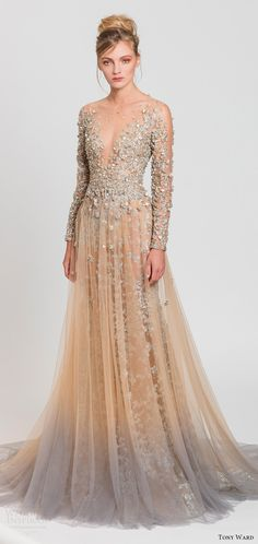 tony ward spring 2017 rtw illusion long sleeves deep v neck  blush fully embellished aline dress (58) mv