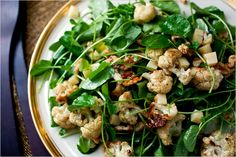 Roasted Cauliflower Salad With Watercress, Walnuts and Gruyère http://www.nytimes.com/2011/01/05/dining/05apperex.html?ref=dining