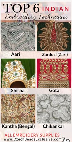 Where to Buy and How To Use French, Bullion Wire, Hook, Threads, Stones – Indian Embroidery Techniques – BEAD Embroidery On Clothes, Hand Work Embroidery, Types Of Embroidery, Simple Embroidery, Folk Embroidery, Modern Embroidery, Embroidery Patterns, Embroidery Fashion, Embroidery Dress