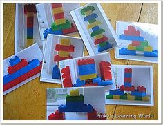 Make lego cards for kids to copy/build - Re-pinned by #PediaStaff.  Visit http://ht.ly/63sNt for all our pediatric therapy pins