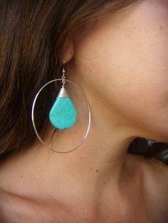 Large Hoop Earrings Turquoise Earrings by AlissaBcustomjewelry