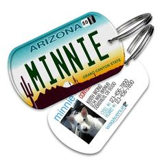 The License Plate Pet Tags features unique pet tags that look like your car's license plate! While this will not officially mean that your cat or dog owns a Porsche, we guarantee our Arizona License P